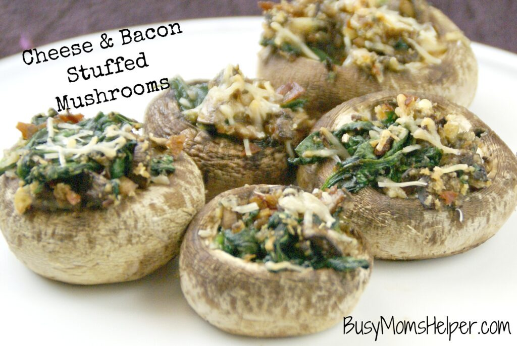 Cheese & Bacon Stuffed Mushrooms / Busy Mom's Helper
