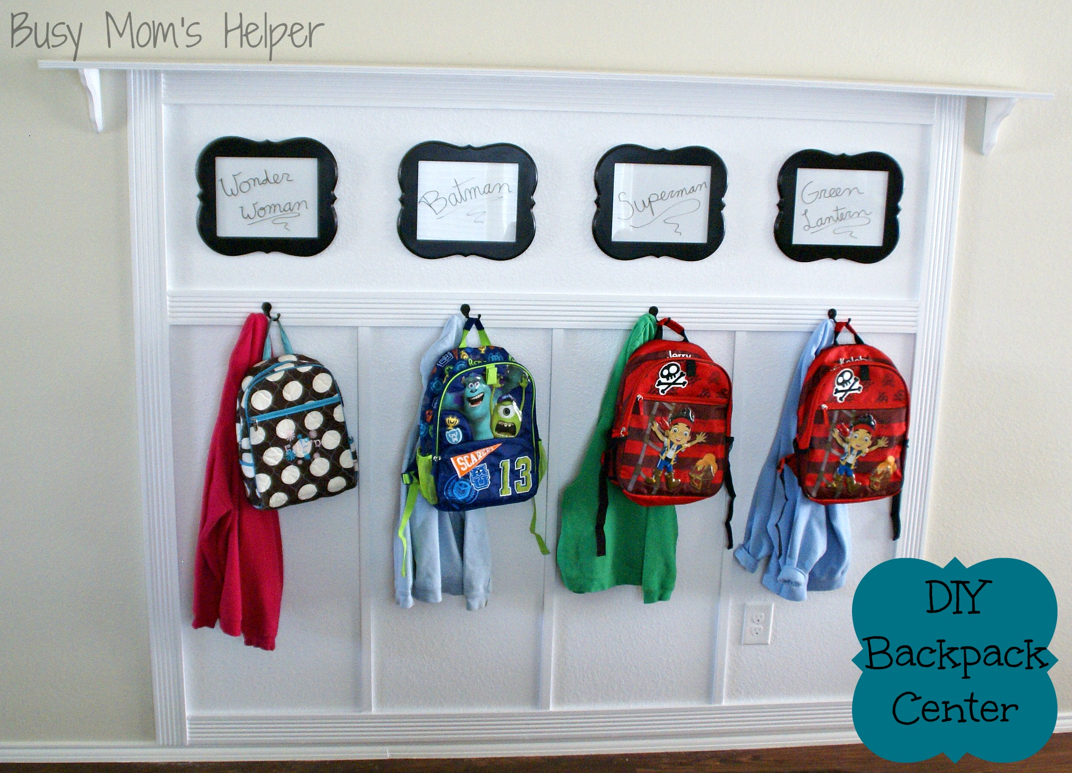 DIY Backpack Center / Busy Mom's Helper