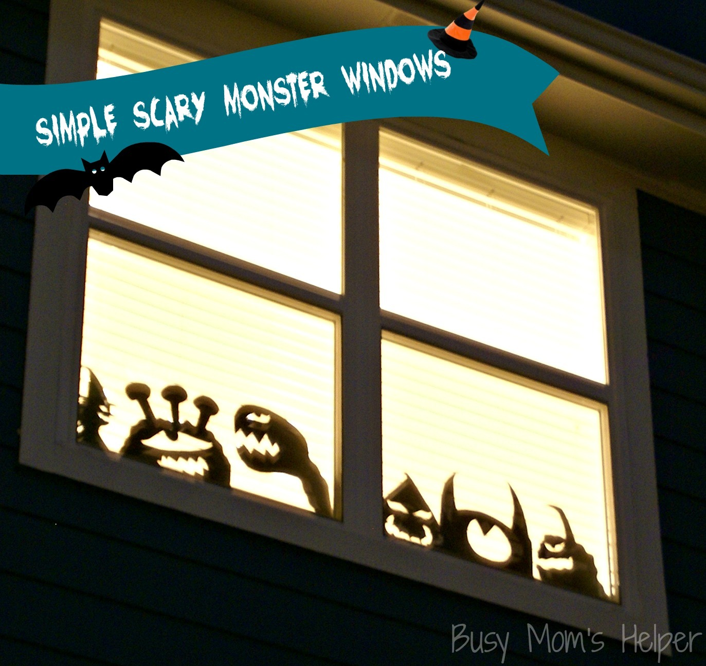 Simple Scary Monster Windows / Busy Mom's Helper