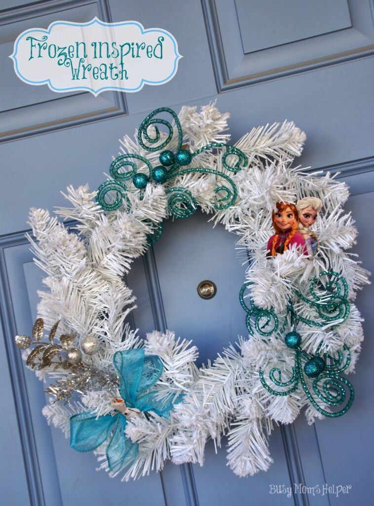 Frozen Inspired Wreath / by www.BusyMomsHelper.com #Frozen #Craft #Wreath #Disney