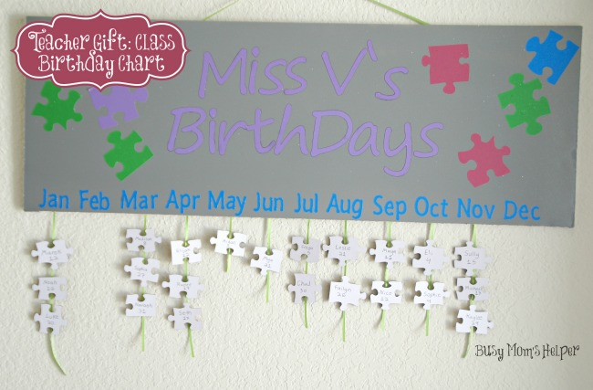 Teacher Gift: Class Birthday Chart / Busy Mom's Helper