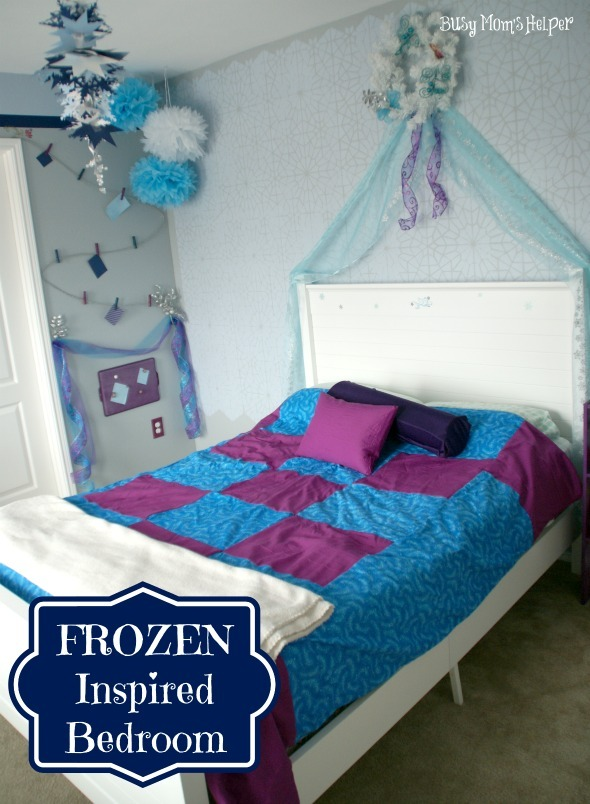 FROZEN Inspired Bedroom / By Www.BusyMomsHelper #Frozen #bedroom  #girlsbedroom #remodel