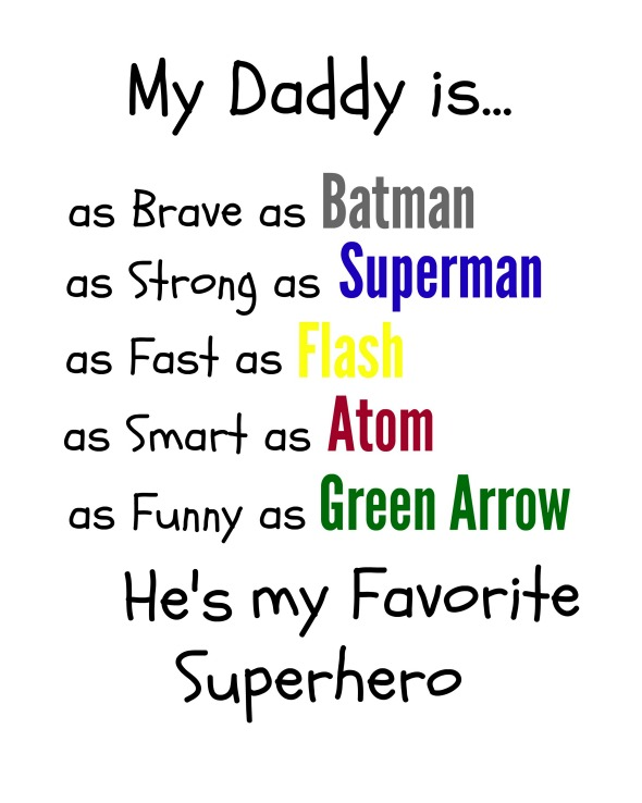 Superhero Dad Gift Free Printables