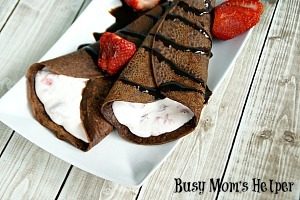 Chocolate Crepes with Strawberry Cream / by www.BusyMomsHelper.com #crepes #chocolate #strawberrycream