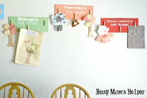 Quick & Organized Kid's Art Wall / by Busy Mom's Helper #kidcrafts #kidart #preschool #organizing