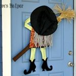 Crashing Witch Door Decor