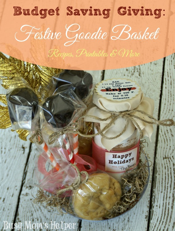 Budget Saving Giving: Festive Goodie Basket / by Busy Mom's Helper #GiftBasket #Truffles #CaramelCookies #CookiesinJars #TasteTheSeason #Shop