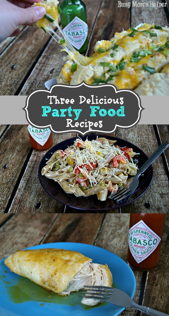 Three Delicious Party Food Recipes / by Busy Mom's Helper #cheesybread #pasta #chicken #SeasonedGreetings #ad