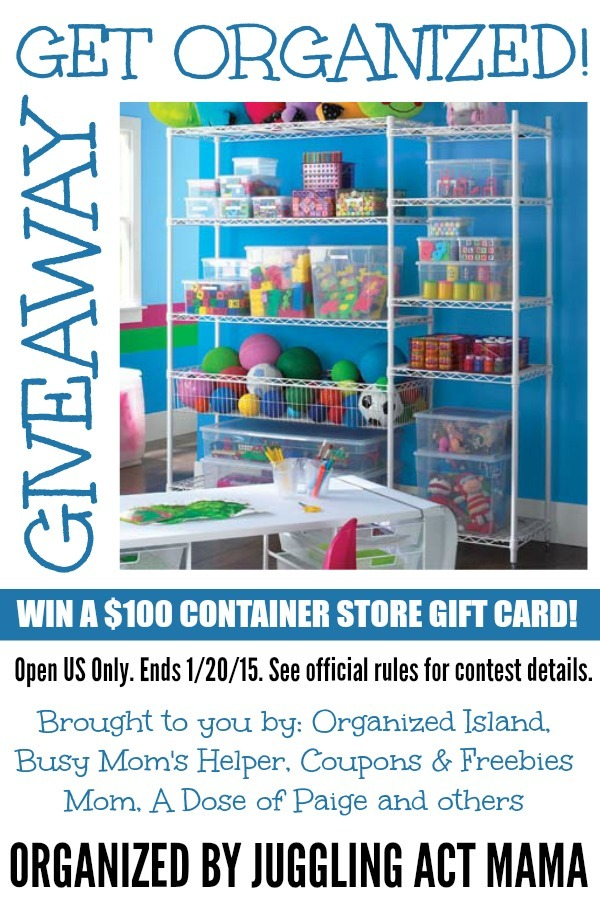 Get Organized $100 Container Store Giveaway organized by Juggling Act Mama