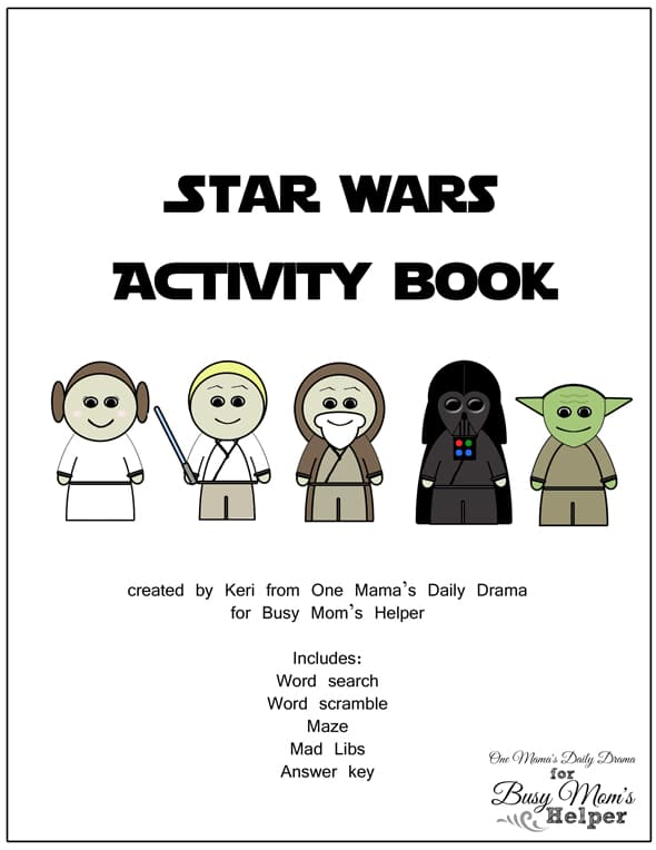 star wars printable activity book by one mamas daily drama for busy moms helper - Printable Activity