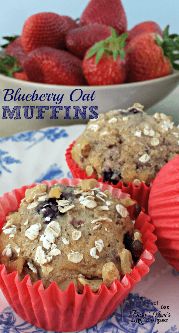 Delicious Homemade Blueberry Oat Muffins by Juggling Act Mama for Busy Mom's Helper