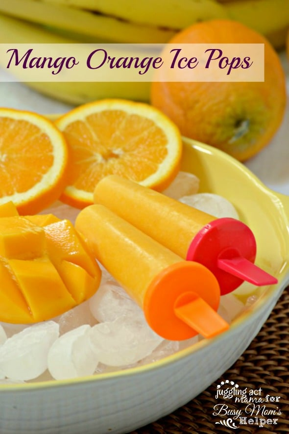 Healthy & Delicious Mango Orange Ice Pops via Juggling Act Mama as seen on Busy Mom's Helper