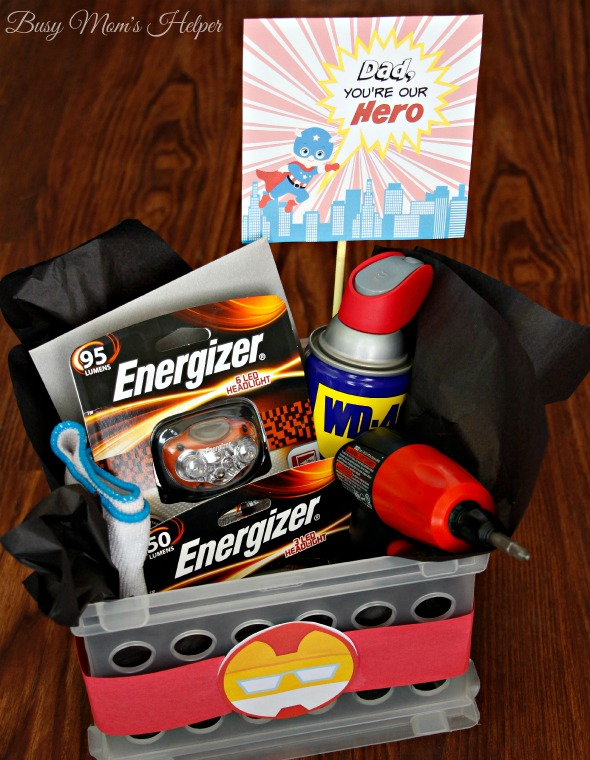 Dad Our Hero: Father's Day Gift Basket with Free Printables - Busy ...