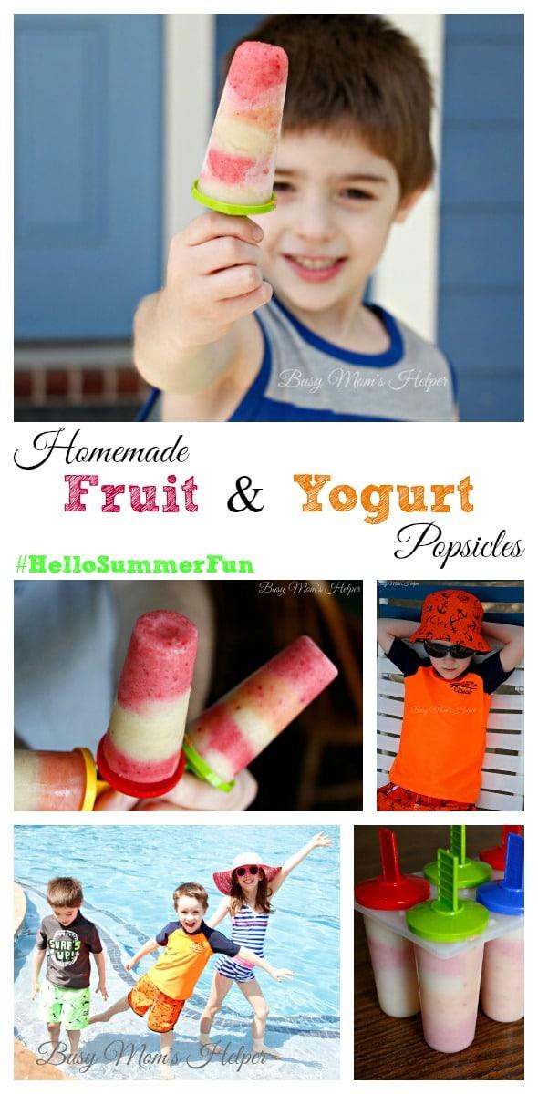 Homemade Fruit and Yogurt Popsicles / http://busymomshelper.flywheelsites.com #HelloSummerFun #IC #ad