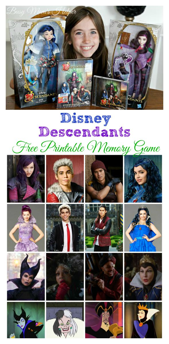 Disney's Descendants Free Printable Memory Game / by Busy Mom's Helper #Disney #VillainDescendants #ad
