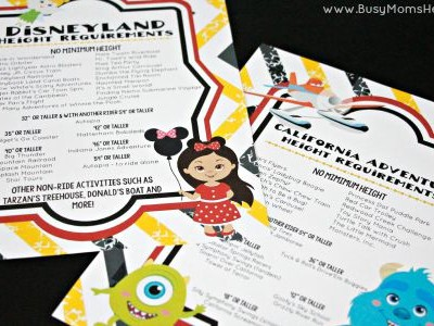 Free Printable Disneyland Height Requirements / by Busy Mom's Helper / Free Printable California Adventure Height Requirements