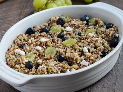 Summer Quinoa Salad with sweet and savory flavors of crumbled feta, blueberries, and grapes in a tangy vinaigrette l Steph in Thyme for Busy Mom's Helper