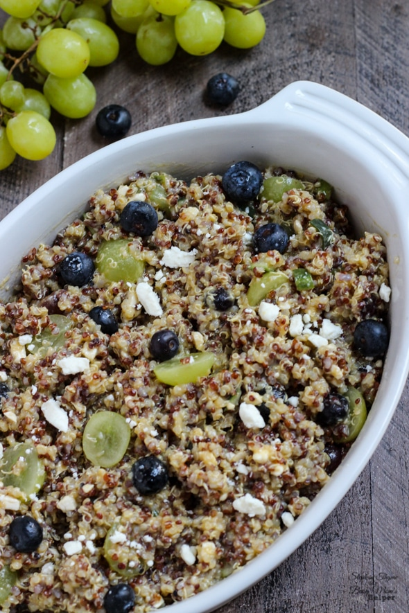 Summer Quinoa Salad with sweet and savory flavors of crumbled feta ...