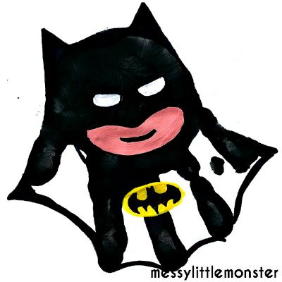 Batman Handprint / by Mess Little Monster / Round up by Busy Mom's Helper