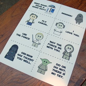 Printable Star Wars Lunch Box Notes