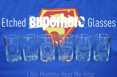 Etched superhero glasses / by I Am Momma Hear Me Roar / Round up by Busy Mom's Helper