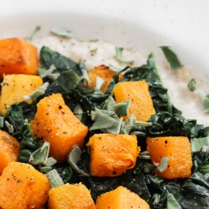 Savory Oatmeal with Butternut Squash and Kale
