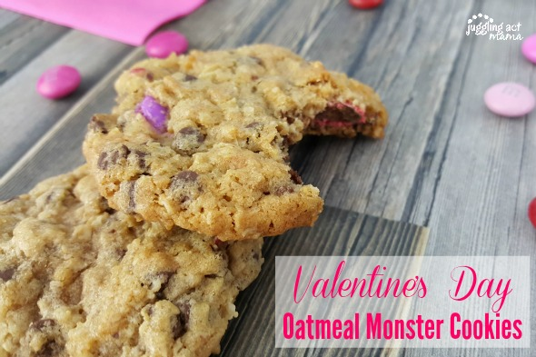Valentines Day Oatmeal Monster Cookies