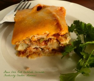 Green Chili Pork Enchilada Casserole