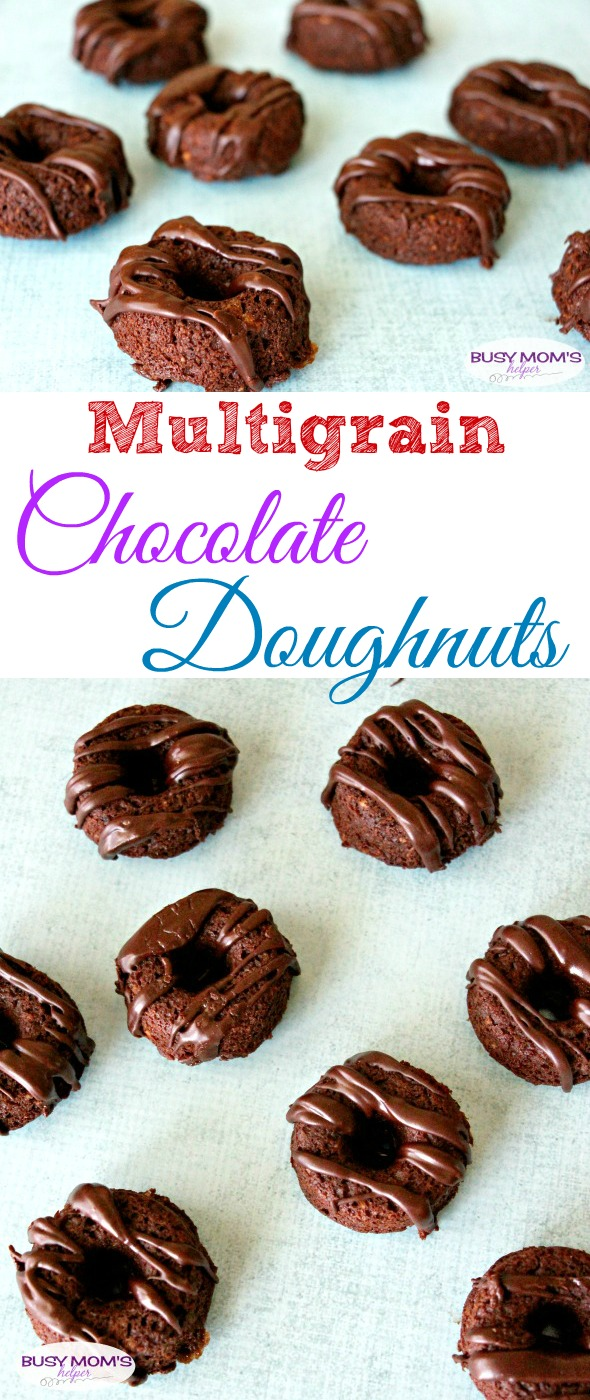 Multigrain Chocolate Doughnuts / Chocolate Donuts / Baked Donuts / by BusyMomsHelper.com #ad #CookingWithGerber / Makes an easy dessert recipe or snack!