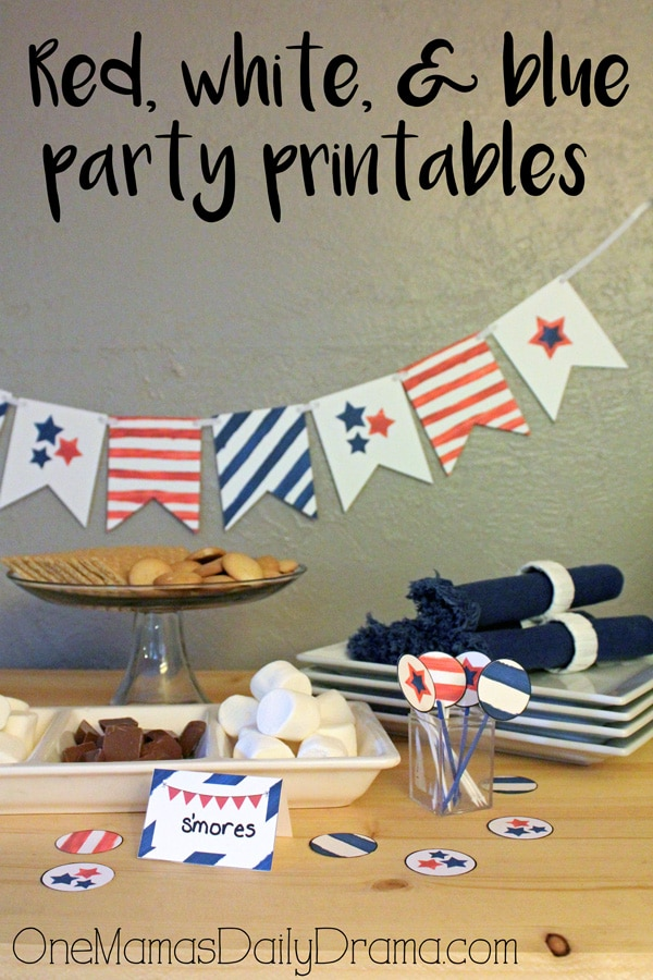 Red, white, and blue party printables by One Mama's Daily Drama
