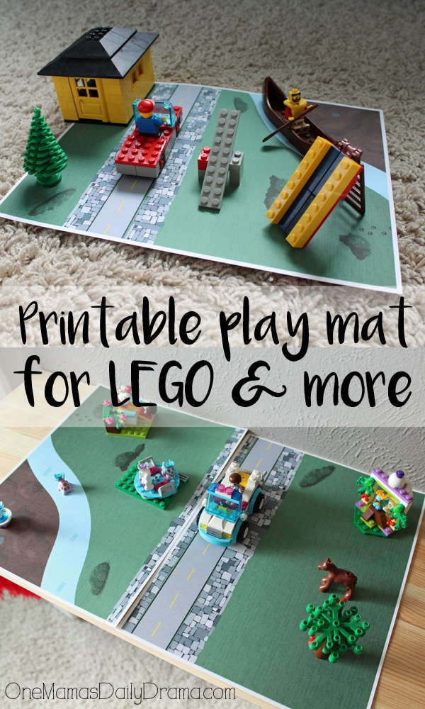 Printable play mat for LEGO, blocks, farm animals, etc. by OneMamasDailyDrama.com