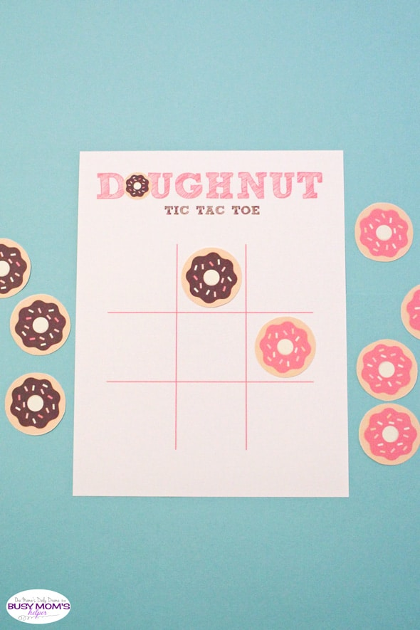 Printable doughnut tic tac toe | One Mama's Daily Drama for Busy Mom's Helper