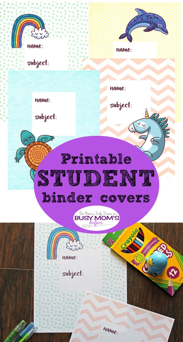 Printable student binder covers | One Mama's Daily Drama for Busy Mom's Helper