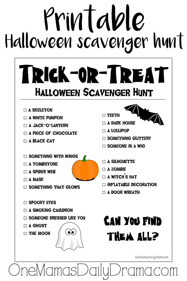 Printable Halloween scavenger hunt for kids | OneMamasDailyDrama.com