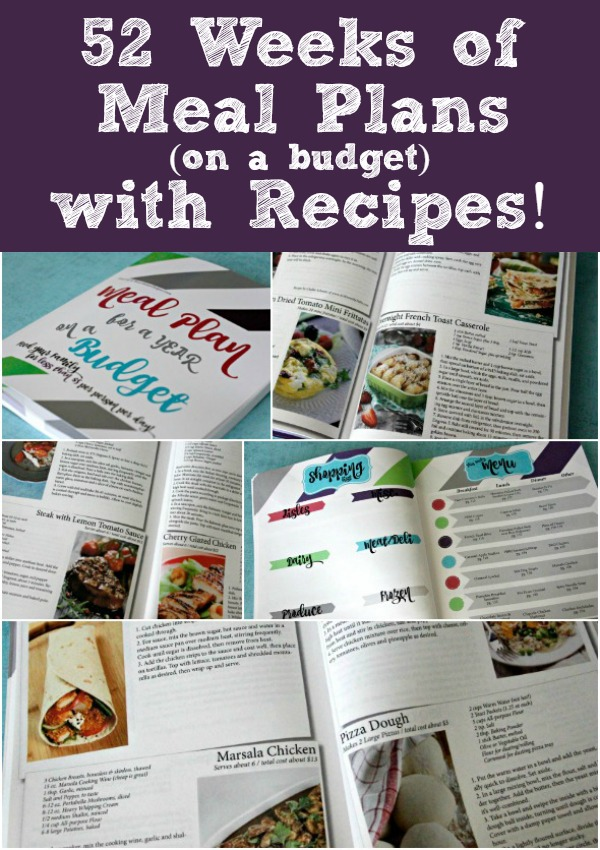 Meal Plan on a Budget: 52 Weeks of meal plans with recipes / Averages to less than $5 per person per day! 52 Weekly Menus provided! #ad