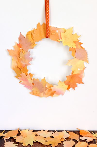 Watercolor-Paper-Leaf-Wreath