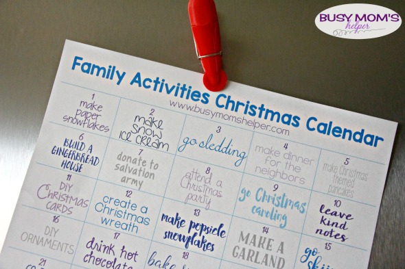 December Family Activities Calendar / a great printable for Christmas Family Activities!