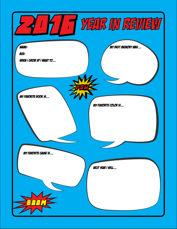Free Printable Superhero Kids Year in Review Sheet
