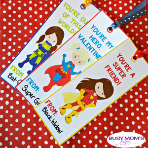 Superhero Girl Bookmarks for Valentine's Day