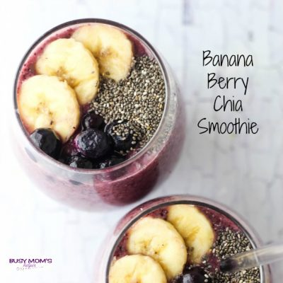 Banana Berry Chia Smoothie - Busy Mom's Helper