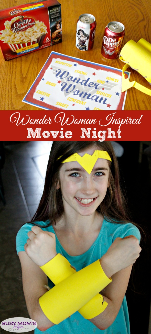 Wonder Woman Inspired Movie Night / DIY Wonder Woman Inspired Tiara & Bracelets / Wonder Woman Inspired Free Printable Wall Art #WonderfulMovieNight #WonderWoman #ad
