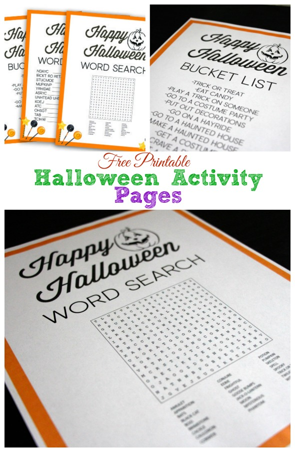 Free Printable Halloween Activity Pages