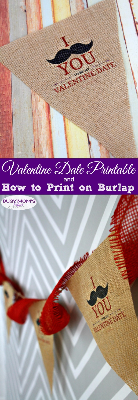 How to Print on Burlap & Valentine Date Invitation Printable #ad #burlapfabric #craft #diy #printable #valentines