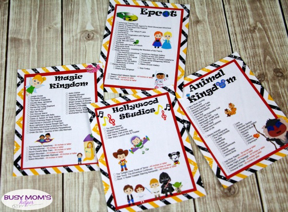 Free Printable Walt Disney World Ride Lists #waltdisneyworld #printable #ridelist #heightrequirements #magickingdom #animalkingdom #epcot #hollywoodstudios