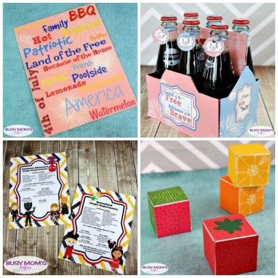Our Fabulous June Printables - part of our monthly printable subscription plan! #printable #printables #sodabottlewrapper #disneyland #californiaadventure #ridelist #subwayart #4thofjuly #july #fruitboxes #partyfavor #printableboxes