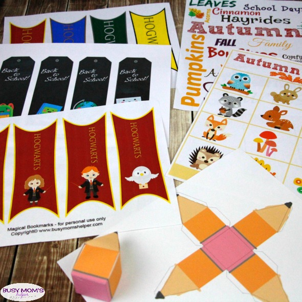 August Printables / amazing printables as part of our monthly printable subscription! Perfect for Autumn, we've got bookmarks, back-to-school party favor boxes, subway art and bingo! #printables #monthlysubscription