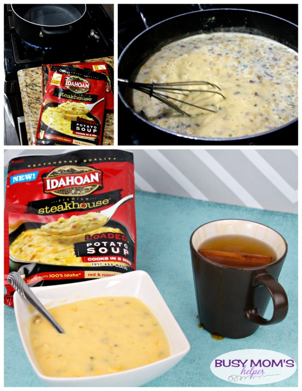 Comforting and Easy Potato Soup & Cider Recipe - a quick, delicious meal from Idahoan® Steakhouse® Soups #AD #IdahoanSoups