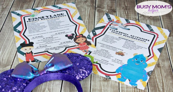 Free Printable Disneyland Ride Lists with Height Requirements - now updated for Star Wars Land! Also includes Free Printable California Adventure Ride List