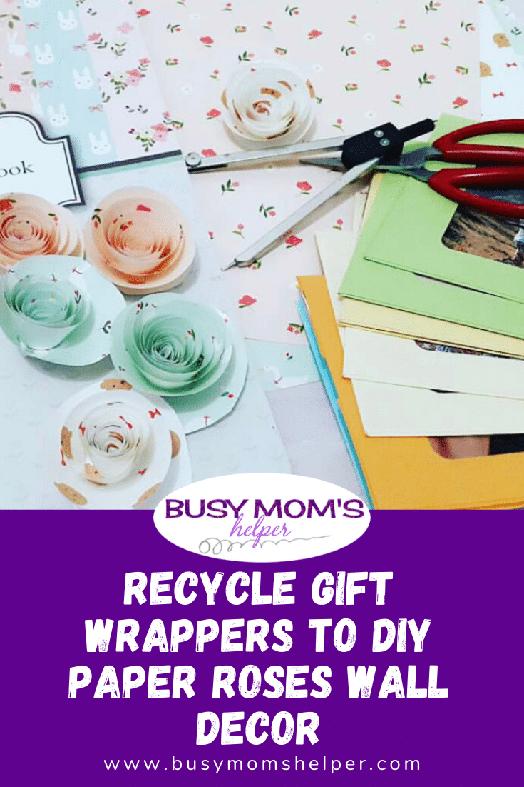 Recycle Christmas Gift Wrappers to DIY Paper Roses Wall Decor